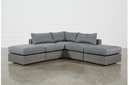 "Koro Outdoor 5 Piece 99"" Sectional With 2 Ottomans"
