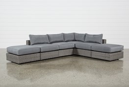 """Koro Outdoor 6 Piece 130"""" Sectional With 2 Ottomans"""