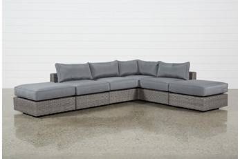 "Koro Outdoor 6 Piece 130"" Sectional With 2 Ottomans"