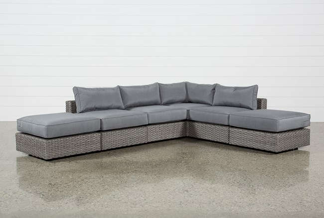 """Koro Outdoor 6 Piece 130"""" Sectional With 2 Ottomans  - 360"""