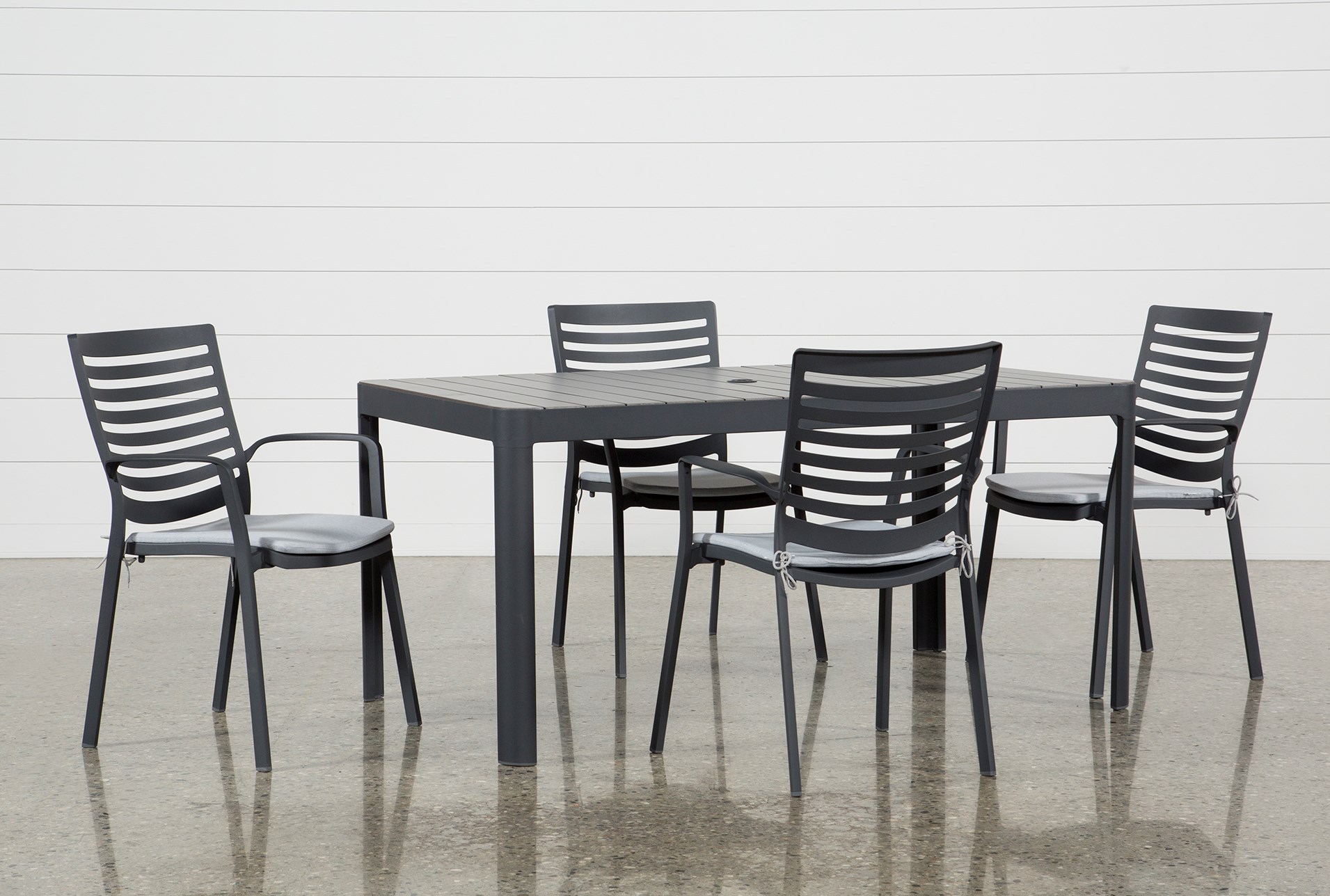 Outdoor andaz 5 piece dining set living spaces for Outdoor dining sets for small spaces