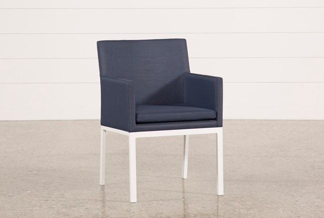 Outdoor Biscayne II Navy Upholstered Dining Chair - 360