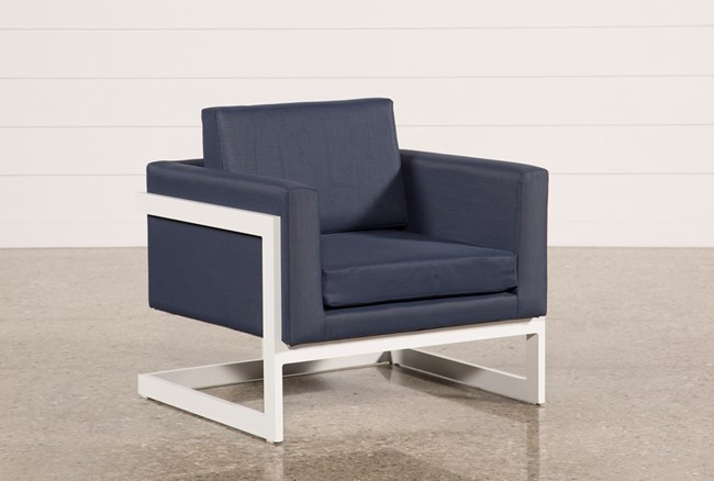 Outdoor Biscayne II Navy Lounge Chair - 360