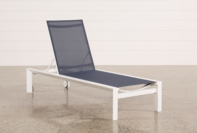 Outdoor Biscayne II Navy Chaise Lounge - 360