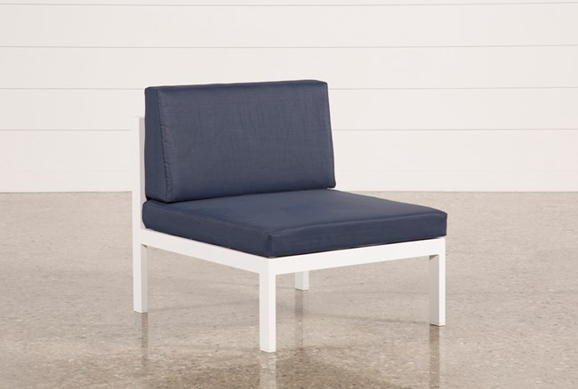 Outdoor Biscayne II Navy Armless Chair - 360