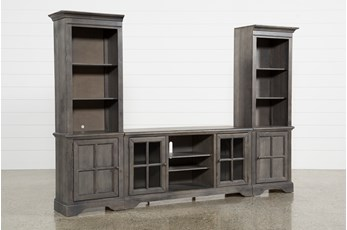 "Preston 118"" 3 Piece Entertainment Center With Glass Doors"