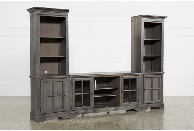 "Preston 118"" 3 Piece Entertainment Center With Glass Doors - 360"