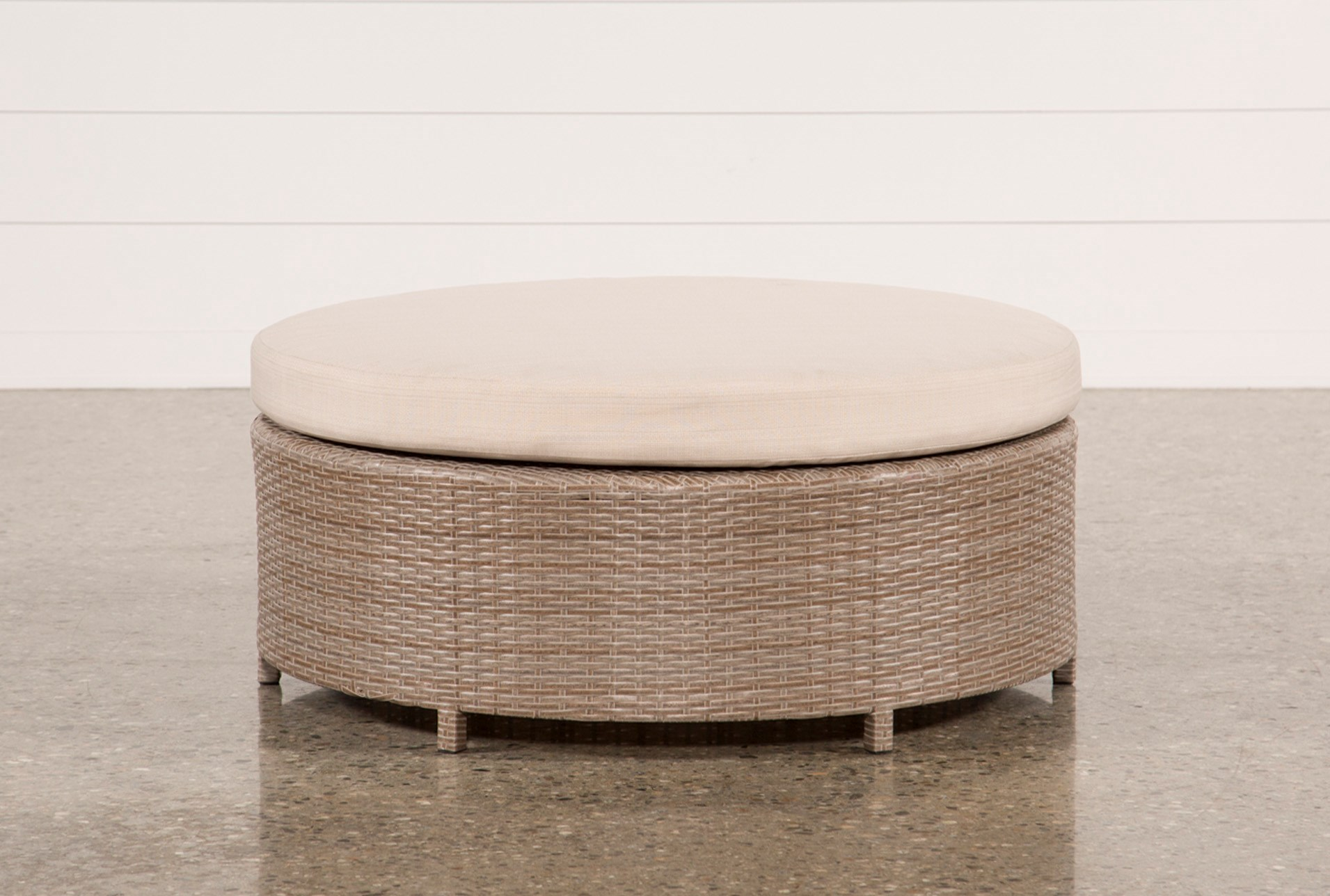 Outdoor ibiza round cocktail ottoman qty 1 has been successfully added to your cart