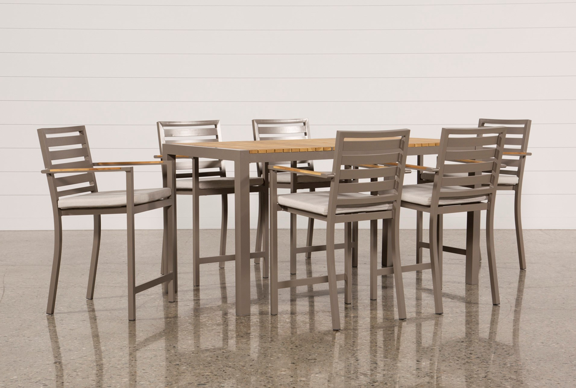 Outdoor Brasilia Teak 7 Piece High Dining Set | Living Spaces