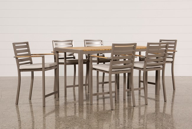 Outdoor Brasilia Teak 7 Piece High Dining Set - 360