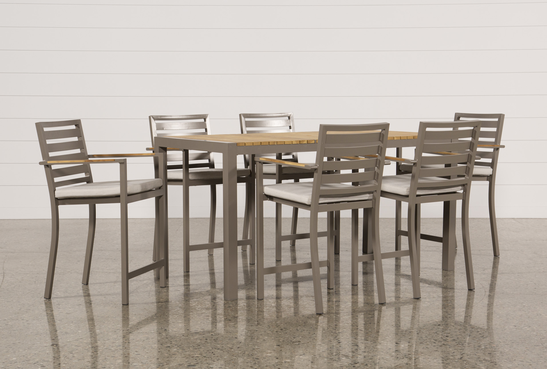 Outdoor Brasilia Teak 7 Piece High Dining Set   360