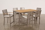 Outdoor Brasilia Teak 7 Piece High Dining Set - Left
