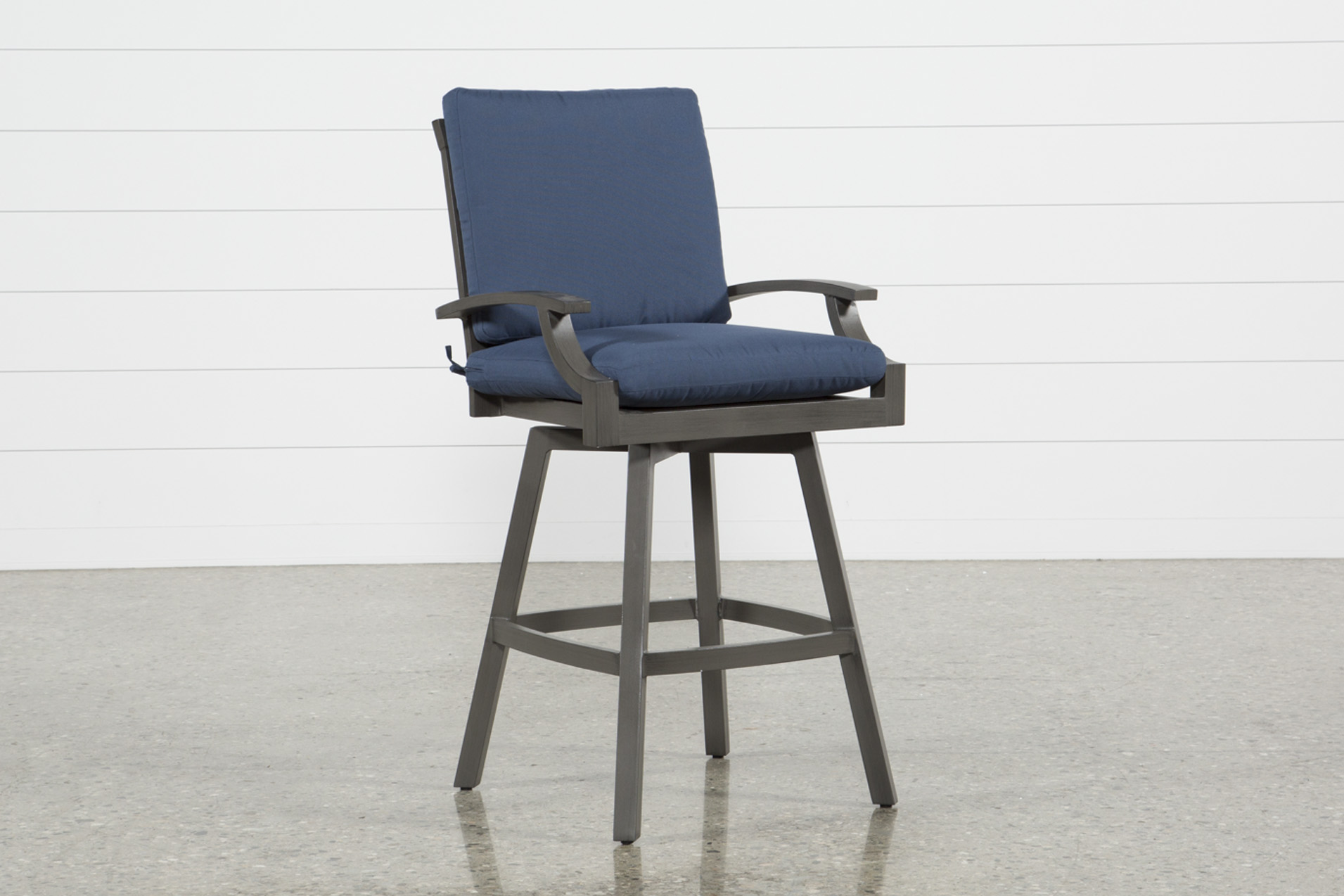 Image of: Martinique Navy Outdoor Swivel 47 Bar Stool Living Spaces