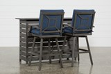 Outdoor Martinique II 3 Piece Bar Set With Navy Stools - Left