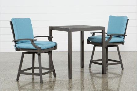 Outdoor Martinique II 3 Piece Pub Set W/Aqua Counter Stools - Main