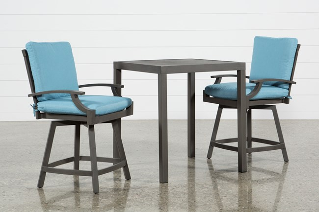 Outdoor Martinique II 3 Piece Pub Set W/Aqua Counter Stools - 360