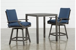 Martinique Outdoor 3 Piece Pub Set W/Navy Counter Stools