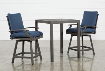 Martinique Outdoor 3 Piece Pub Set With Navy Counter Stools