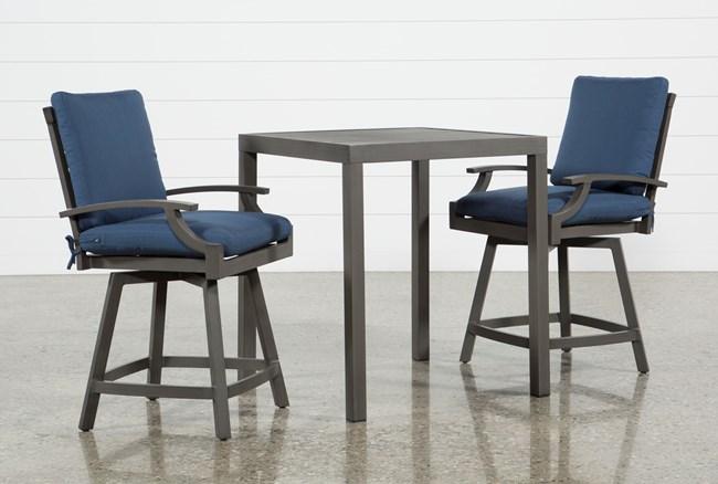 Outdoor Martinique II 3 Piece Pub Set W/Navy Counter Stools - 360