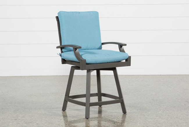 Outdoor Martinique II Aqua Swivel Counter Stool - 360