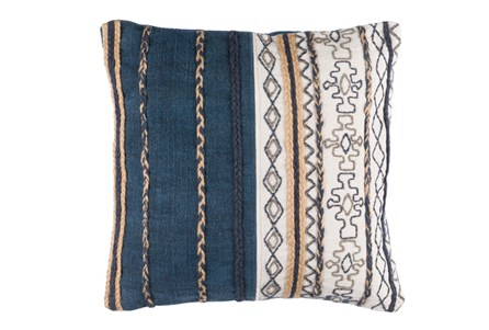 Accent Pillow-Raffia Stripe Denim 20X20