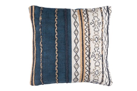Accent Pillow-Raffia Stripe Denim 20X20 - Main