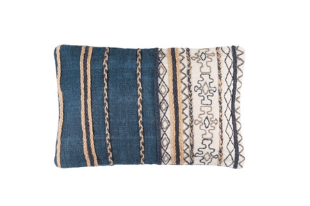Accent Pillow-Raffia Stripe Denim 22X14