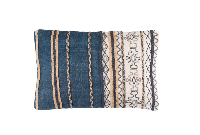 Accent Pillow-Raffia Stripe Denim 22X14 - 360