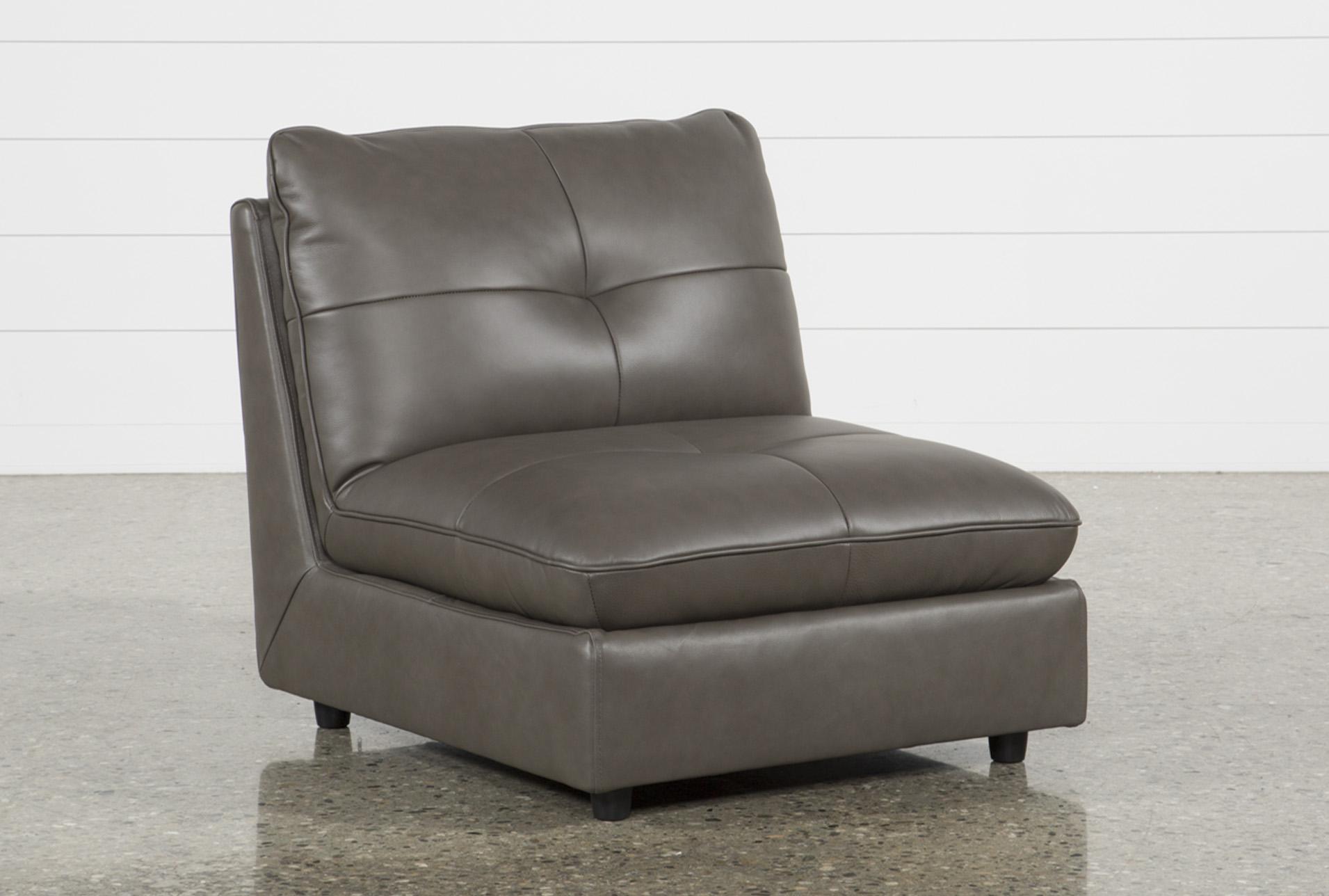 Adele Grey Leather Armless Chair   360