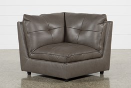 Adele Grey Leather Corner Chair