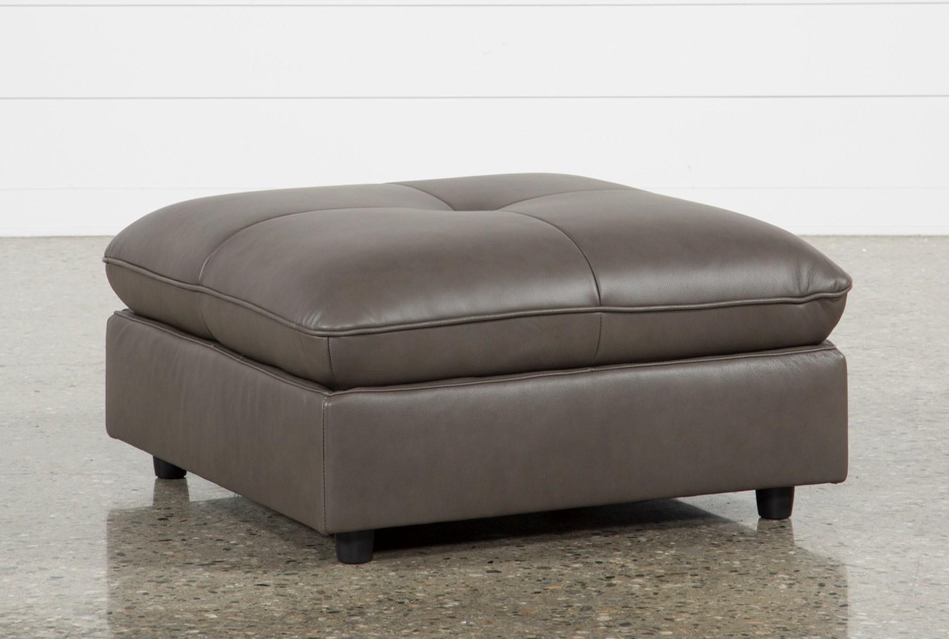 Grey Leather Ottoman