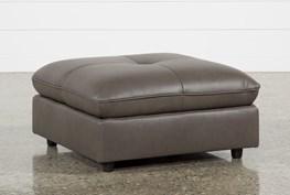 Adele Grey Leather Ottoman