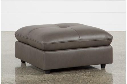 Adele Grey Leather Ottoman - Main