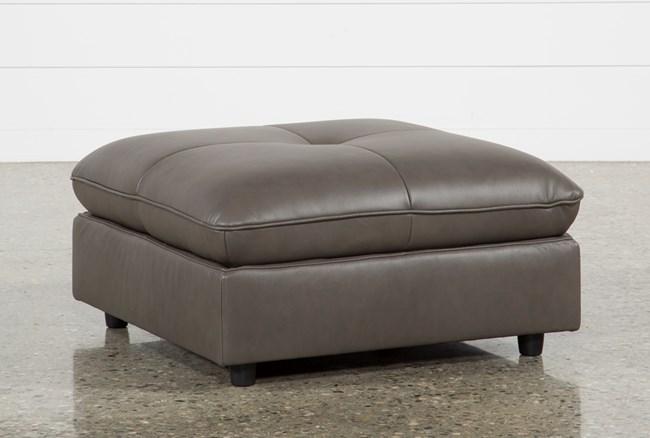 Adele Grey Leather Ottoman - 360