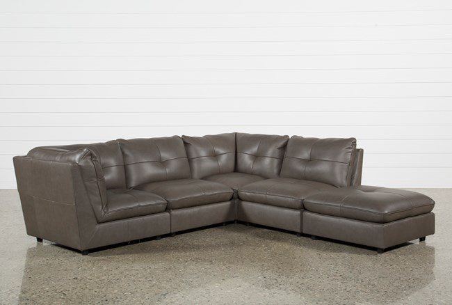 Adele Grey 4 Piece Sectional With Ottoman - 360