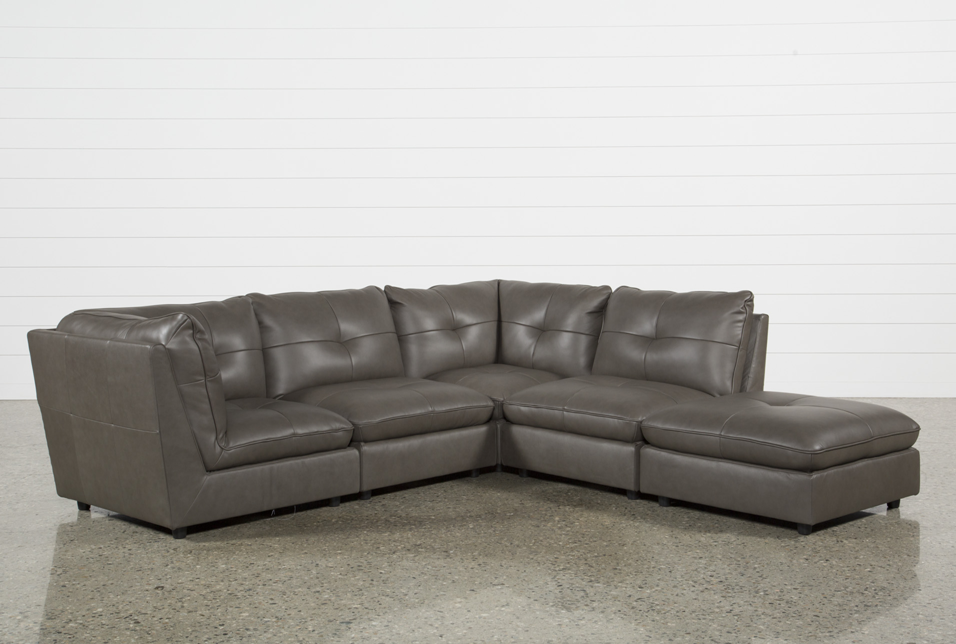 Adele Grey 4 Piece Sectional With Ottoman   360