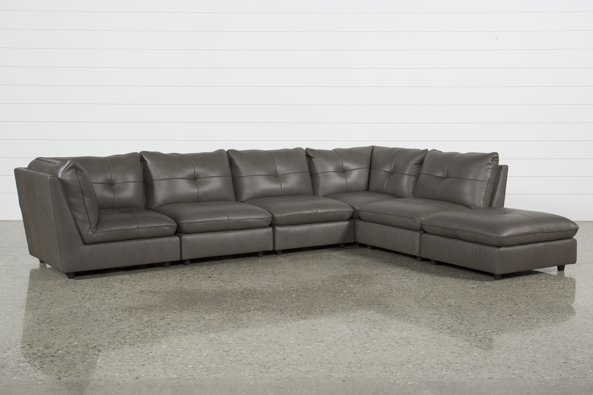 Charmant Adele Grey 5 Piece Sectional With 3 Armless Chairs And Ottoman   360