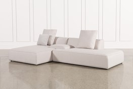 Maggie Light Grey 3 Piece Sectional W/Laf Chaise & Solid Stool