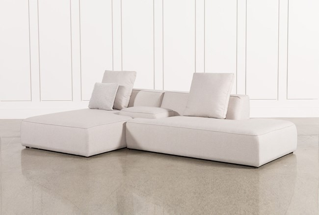 Maggie Light Grey 3 Piece Sectional W/Laf Chaise & Solid Stool - 360