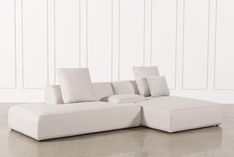 Maggie Light Grey 3 Piece Sectional W/Raf Chaise & Solid Stool