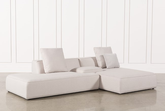 Maggie Light Grey 3 Piece Sectional W/Raf Chaise & Solid Stool - 360