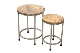 Set Of 2 Iron And Marble End Tables
