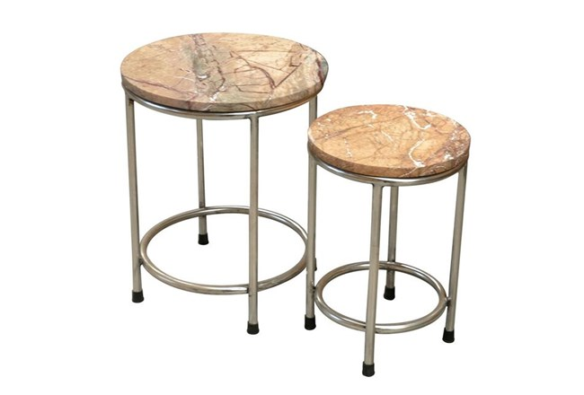 Set Of 2 Iron And Marble End Tables - 360