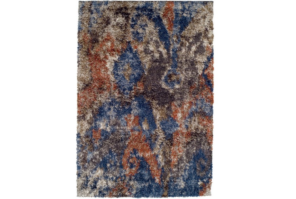 114X158 Rug-Roma Shag Orange/Blue
