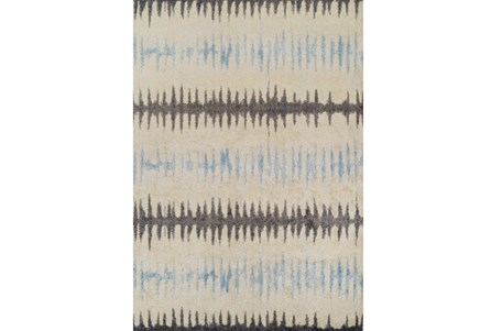 98X120 Rug-Textured Waves Grey/Blue