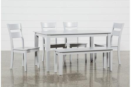 Lindy 6 Piece Dove Grey Rectangle Dining Set - Main