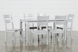 Lindy 7 Piece Dove Grey Rectangle Dining Set