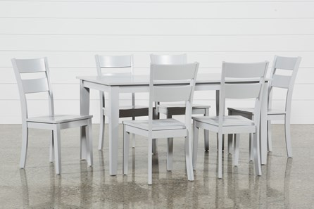 Lindy 7 Piece Dove Grey Rectangle Dining Set