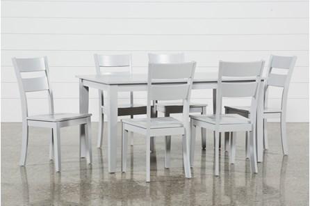 Lindy 7 Piece Dove Grey Rectangle Dining Set - Main