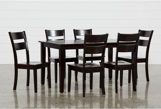 Lindy 7 Piece Espresso Rectangle Dining Set - 360